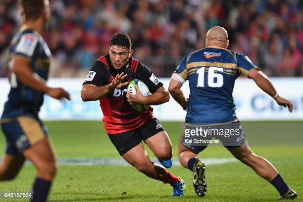 Codie Taylor of the Crusaders charges forward during the round one Super Rugby match between the Crusaders and the Brumbies at AMI Stadium on...