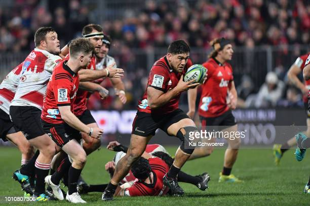 Codie Taylor of the Crusaders charges forward during the Super Rugby Final match between the Crusaders and the Lions at AMI Stadium on August 4 2018...