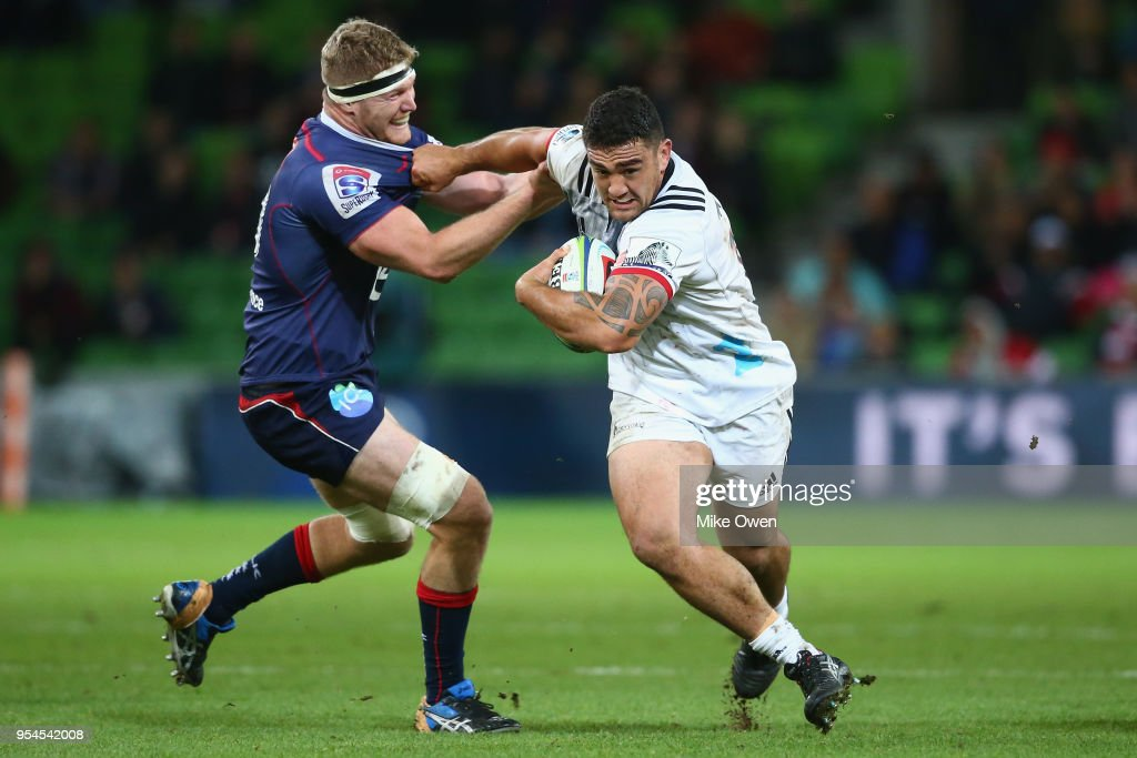 Codie Taylor of the Crusaders runs with the ball during the round 12 Super Rugby match between the Rebels and the Crusaders at AAMI Park on May 4, 2018 in Melbourne, Australia.