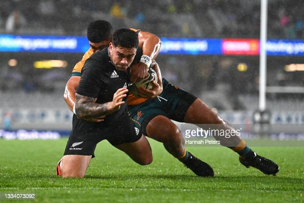 Codie Taylor of the New Zealand All Blacks scores a try during The Rugby Championship and Bledisloe Cup match between the New Zealand All Blacks and...