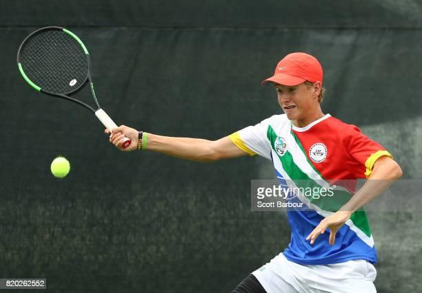 Codie VAN SCHALKWYK of Namibia competes in the Boy's Singles Quarterfinal tennis match between Codie VAN SCHALKWYK of Namibia and Hamish Stewart of...