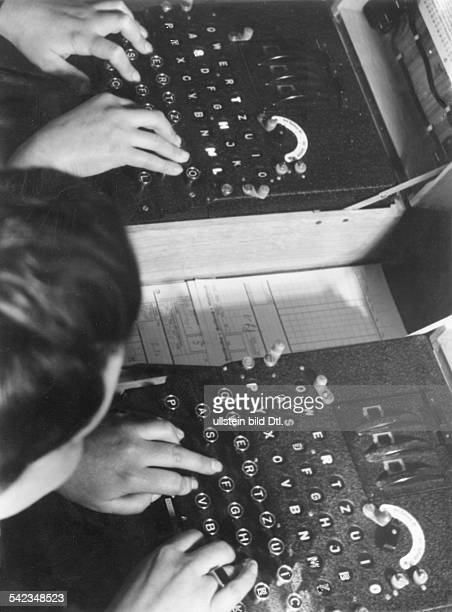 Coding of radio signals and messages constantly changing the code with the Enigma 1943