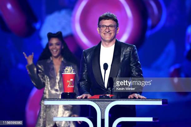 CoDirector Anthony Russo accepts the Best Movie award for 'Avengers Endgame' from Tessa Thompson onstage during the 2019 MTV Movie and TV Awards at...