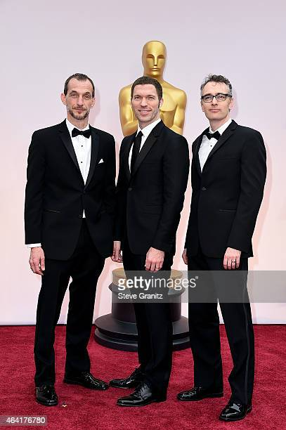 Codirector Anthony Stacchi producer Travis Knight and codirector Graham Annable attend the 87th Annual Academy Awards at Hollywood Highland Center on...