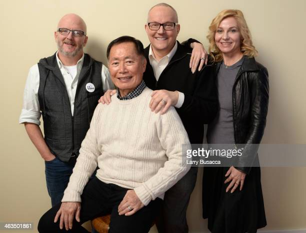 Codirector Bill Weber actor George Takei Brad Takei and director Jennifer M Kroot pose for a portrait during the 2014 Sundance Film Festival at the...