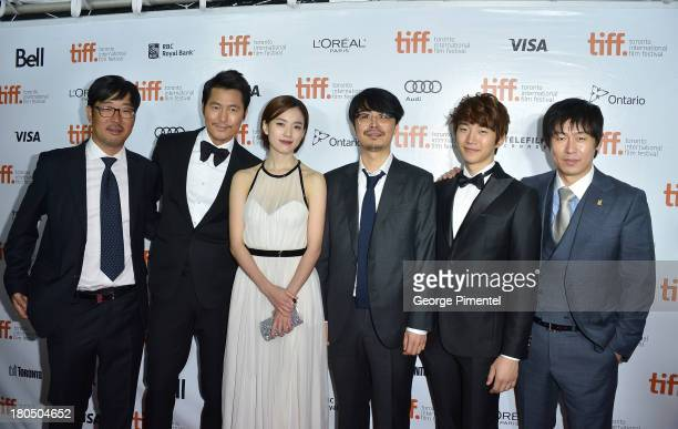 Codirector Cho Uiseok actors Woosung Jung Han Hyojoo codirector Kim Byungseo actors Lee Junho and Sol Kyunggu attend the Cold Eyes premiere during...