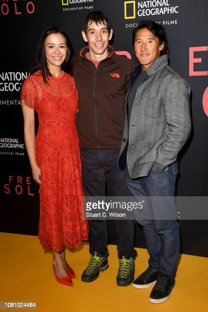 Codirector E Chai Vasarhelyi Alex Honnold and codirector Jimmy Chin attend the National Geographic's gala screening of 'Free Solo' at BFI Southbank...