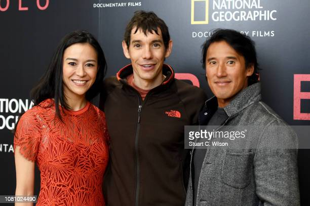 Codirector E Chai Vasarhelyi Alex Honnold and codirector Jimmy Chin attend the National Geographic's gala screening of Free Solo at BFI Southbank on...
