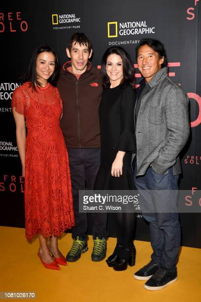 Codirector E Chai Vasarhelyi Alex Honnold Courteney Monroe and codirector Jimmy Chin attend the National Geographic's gala screening of Free Solo at...