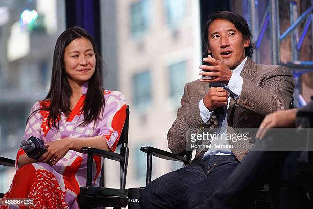 CoDirector Elizabeth Chai Vasarhelyi and Jimmy Chin attend AOL BUILD Presents MERU at AOL Studios In New York on August 13 2015 in New York City