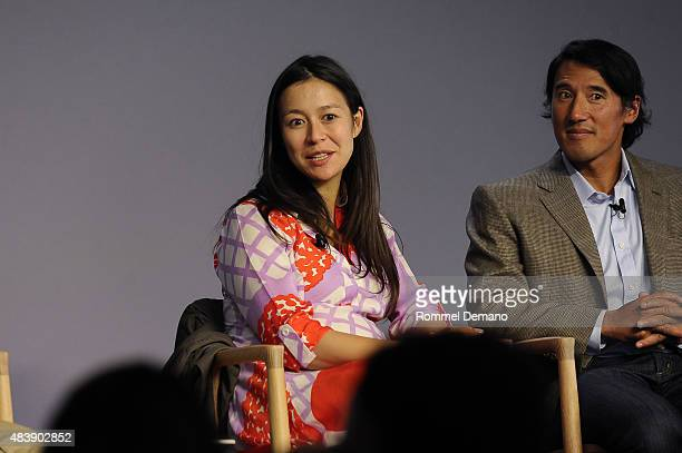 CoDirector Elizabeth Chai Vasarhelyi and Jimmy Chin attend Meet The Filmmaker Jimmy Chin and Elizabeth Chai Vasarhelyi MERU at Apple Store Soho on...