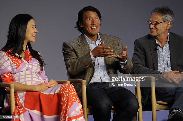 CoDirector Elizabeth Chai Vasarhelyi Jimmy Chin and Jon Krakauner attend Meet The Filmmaker Jimmy Chin and Elizabeth Chai Vasarhelyi MERU at Apple...