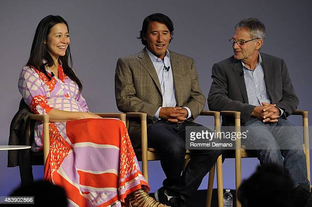 CoDirector Elizabeth Chai Vasarhelyi Jimmy Chin and Jon Krakauner attend Meet The Filmmaker Jimmy Chin and Elizabeth Chai Vasarhelyi MERU at Apple...
