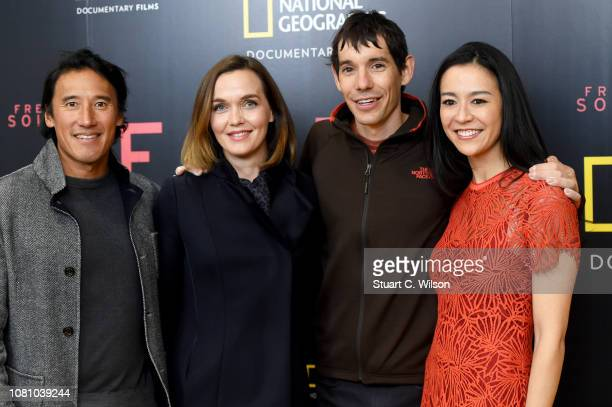 Codirector Jimmy Chin Victoria Pendleton Alex Honnold and codirector E Chai Vasarhelyi attend the National Geographic's gala screening of Free Solo...