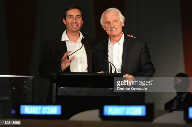 CoDirector Michael Pitiot and director/ environmentalist Yann ArthusBertrand speak at the United Nations and OMEGA presention of Planet Ocean at...