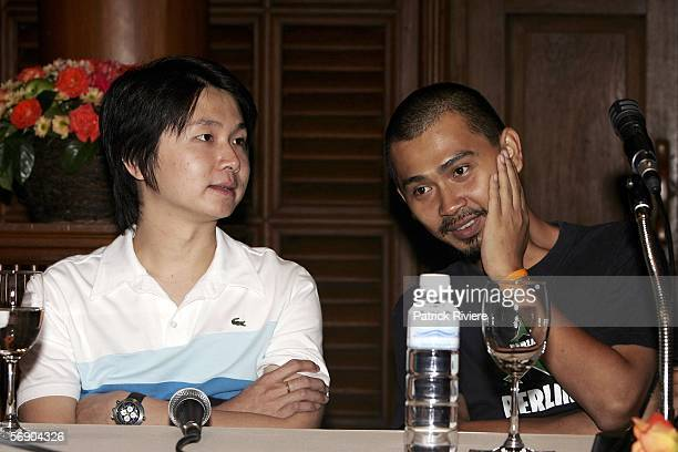 Codirector of Shutter Banjong Pisanthanakun and director of Dear Dakanda Khomkrit Treewimol attend a press conference at the Jim Thompson's House...