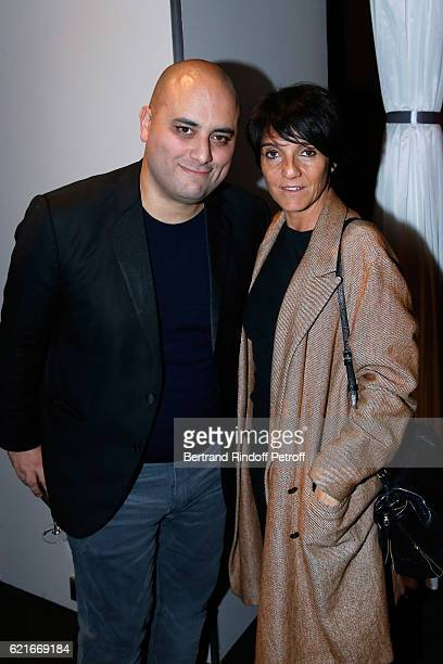 CoDirector of the movie Jerome Commandeur and humorist Florence Foresti attend the 'Ma famille t'adore deja' Paris Premiere at Cinema Elysee Biarritz...