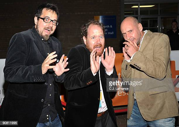 CoDirector Paco Plaza TIFF programer Colin Geddes and codirector Jaume Balaguero arrive at the [Rec] 2 screening during the 2009 Toronto...