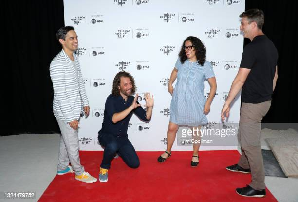 """Co-director/producers Sami Kahn, Michael Gassert, editor Carla Gutierrez and producer Jonathan Miller attend the """"The Last Out"""" premiere during the..."""