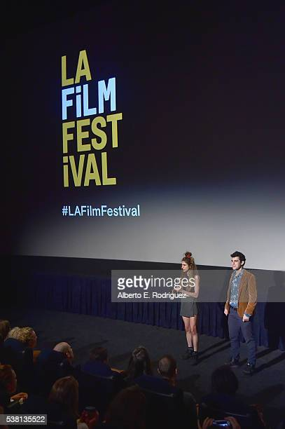 Codirectors Alexi Pappas and Jeremy Teicher speak onstage at the premiere of 'Tracktown' during the 2016 Los Angeles Film Festival at Arclight...
