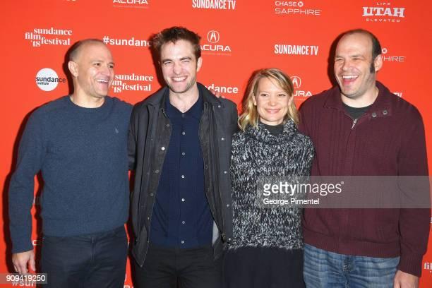 Codirectors and writers David Zellner and Nathan Zellner with actors Robert Pattinson and Mia Wasikowska at the 'Damsel' Premiere during the 2018...