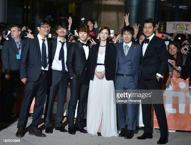 Codirectors Cho Uiseok Kim Byungseo actors Lee Junho Han Hyojoo Sol Kyunggu and Woosung Jung attend the Cold Eyes premiere during the 2013 Toronto...