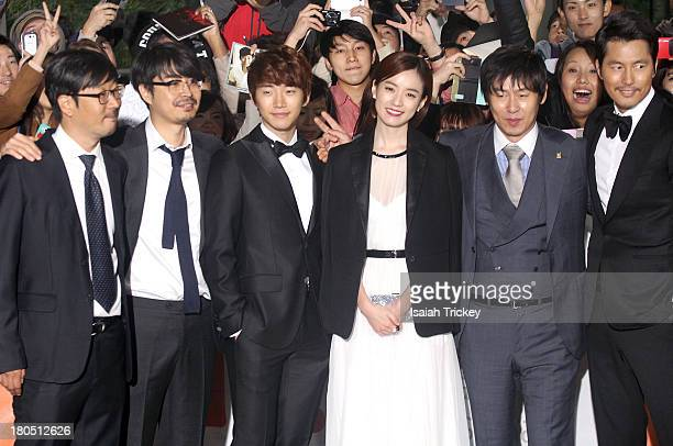 Codirectors Cho Uiseok Kim Byungseo actors Lee Junho Han Hyojoo Sol Kyunggu and Woosung Jung attend the 'Cold Eyes' premiere during the 2013 Toronto...