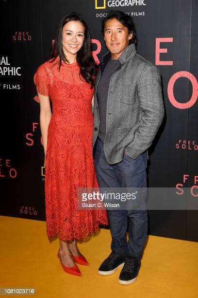 Codirectors E Chai Vasarhelyi and Jimmy Chin attend the National Geographic's gala screening of Free Solo at BFI Southbank on December 11 2018 in...