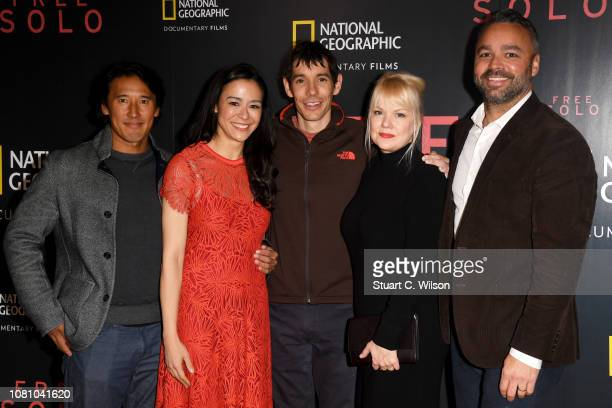 Codirectors Jimmy Chin and E Chai Vasarhelyi Alex Honnold producer Shannon Dill and producer Evan Hayes attend the National Geographic's gala...