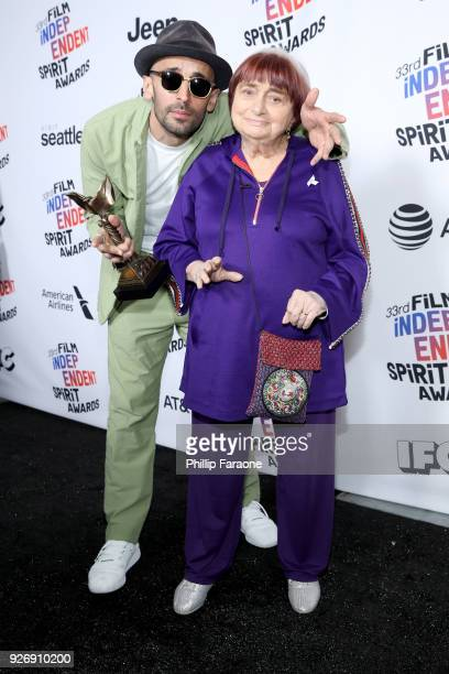 Codirectors JR and Agnes Varda winners of Best Documentary for 'Faces Places' pose in the press room during the 2018 Film Independent Spirit Awards...