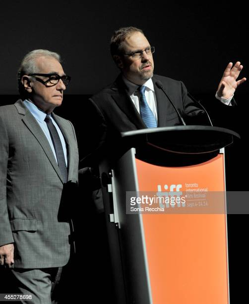CoDirectors Martin Scorsese and David Tedeschi speak onstage at the Mavericks Conversation for The 50 Year Argument during the 2014 Toronto...