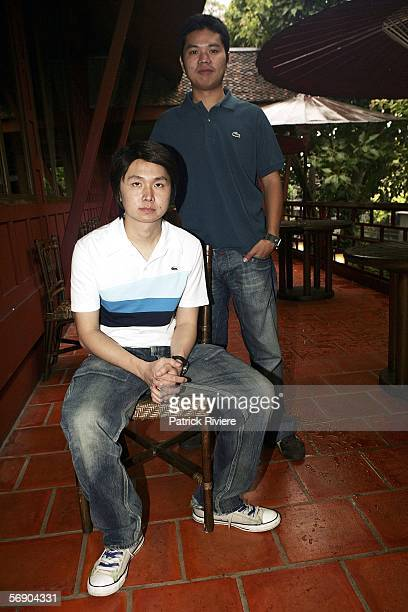 Codirectors of Shuttle Banjong Pisanthanakun and Parkpoon Wongpoon attend a press conference at the Jim Thompson's House during the Bangkok...