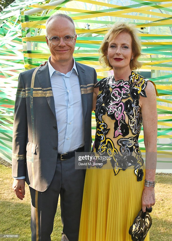 Co-Directors of the Serpentine Gallery Hans-Ulrich Obrist (L) and Julia Peyton-Jones attend The Serpentine Gallery summer party at The Serpentine Gallery on July 2, 2015 in London, England.