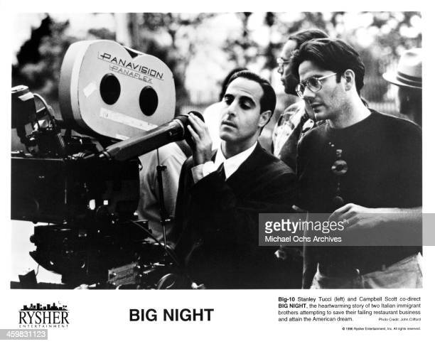 """Co-directors Stanley Tucci and Campbell Scott,on set of the movie """"Big Night"""" , circa 1996."""