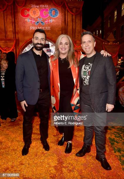 Codirector/Screenwriter Adrian Molina Producer Darla K Anderson and Director Lee Unkrich at the US Premiere of DisneyPixar's Coco at the El Capitan...