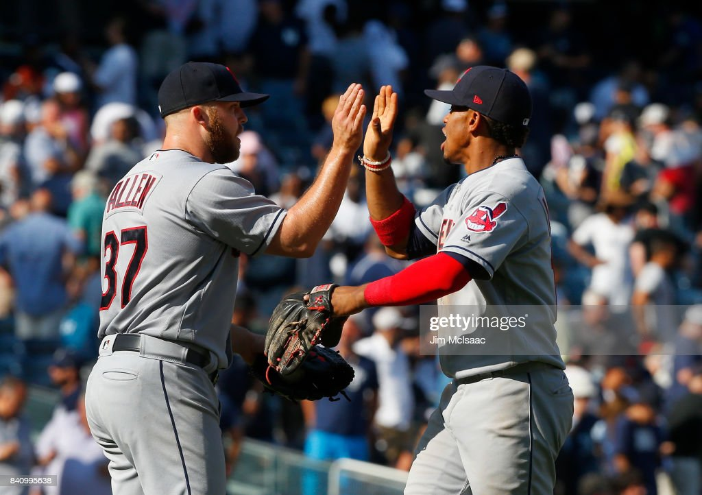 Cody Allen #37 and Francisco Lindor #12 of the Cleveland Indians celebrate after defeating the New York Yankees in the first game of a doubleheader at Yankee Stadium on August 30, 2017 in the Bronx borough of New York City.