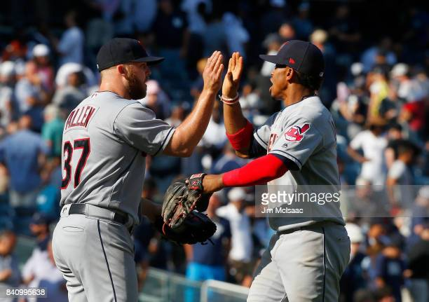 Cody Allen and Francisco Lindor of the Cleveland Indians celebrate after defeating the New York Yankees in the first game of a doubleheader at Yankee...