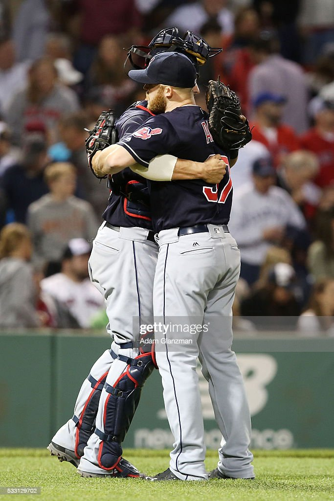 Cody Allen #37 embraces Yan Gomes #10 of the Cleveland Indians after their victory over the Boston Red Sox at Fenway Park on May 20, 2016 in Boston, Massachusetts.