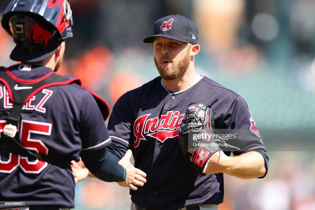 Cody Allen #37 of the Cleveland Indians celebrates a 6-0 win over the Detroit Tigers with Roberto Perez #55 at Comerica Park on May 16, 2018 in Detroit, Michigan.
