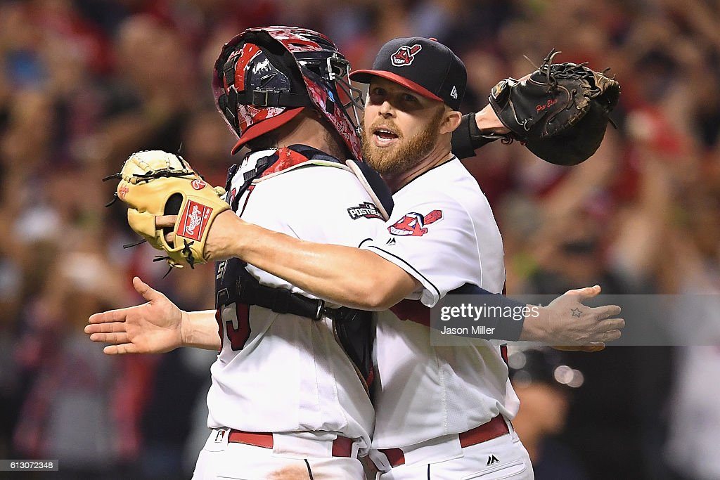Cody Allen #37 of the Cleveland Indians celebrates with Roberto Perez #55 after defeating the Boston Red Sox 5-4 in game one of the American League Divison Series at Progressive Field on October 6, 2016 in Cleveland, Ohio.