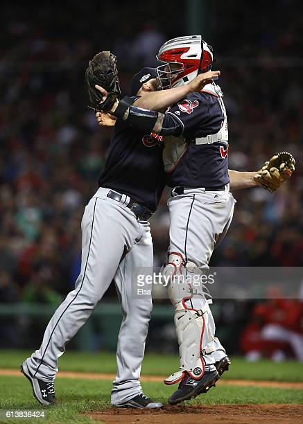 Cody Allen of the Cleveland Indians celebrates with Roberto Perez after defeating the Boston Red Sox 43 in game three of the American League Divison...
