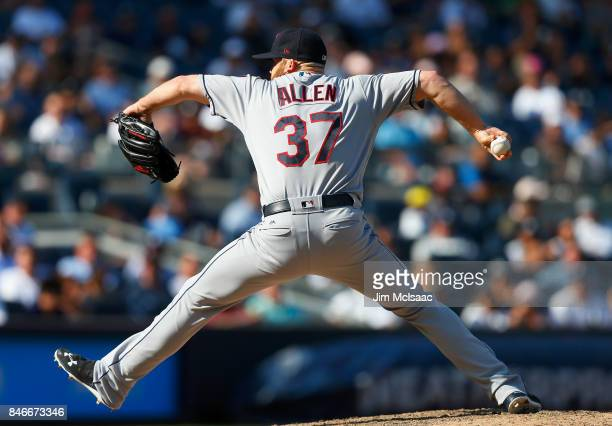 Cody Allen of the Cleveland Indians in action against the New York Yankees in the first game of a doubleheader at Yankee Stadium on August 30 2017 in...