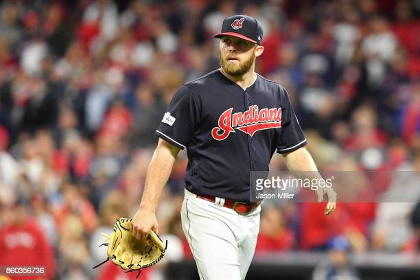 Cody Allen of the Cleveland Indians leaves the game in the ninth inning against the New York Yankees in Game Five of the American League Divisional...