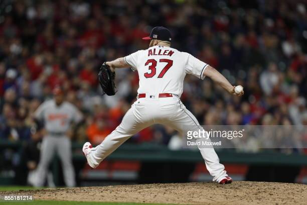 Cody Allen of the Cleveland Indians pitches against the Baltimore Orioles in the ninth inning at Progressive Field on September 10 2017 in Cleveland...