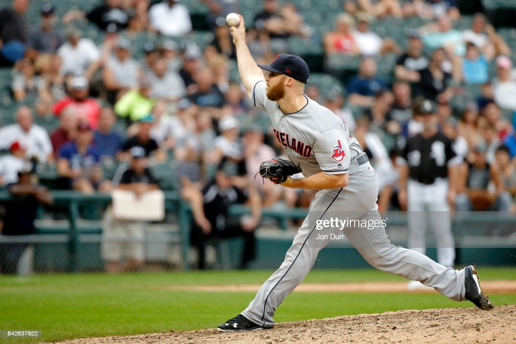 Cody Allen #37 of the Cleveland Indians pitches against the Chicago White Sox during the ninth inning at Guaranteed Rate Field on September 4, 2017 in Chicago, Illinois. The Cleveland Indians won 5-3.