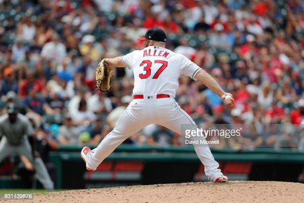 Cody Allen of the Cleveland Indians pitches against the Colorado Rockies in the ninth inning at Progressive Field on August 9 2017 in Cleveland Ohio...