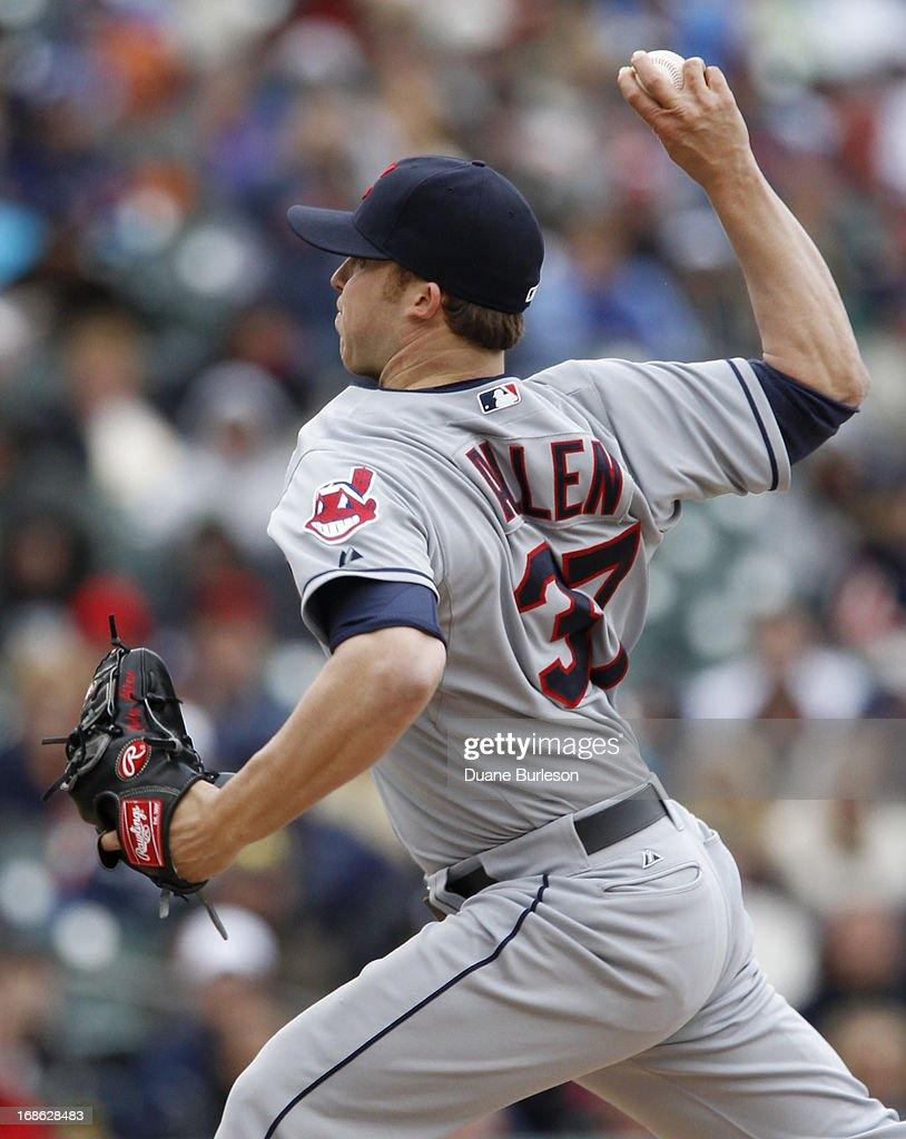 Cody Allen #37 of the Cleveland Indians pitches against the Detroit Tigers in the 10th inning at Comerica Park on May 12, 2013 in Detroit, Michigan. Allen recorded his first save of the season in a 4-3 win over the Tigers.