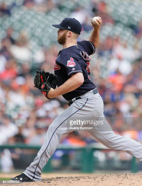 Cody Allen of the Cleveland Indians pitches against the Detroit Tigers during the eighth inning of game one of a doubleheader at Comerica Park on...