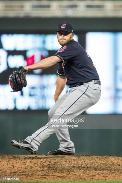Cody Allen of the Cleveland Indians pitches against the Minnesota Twins on April 17 2017 at Target Field in Minneapolis Minnesota The Indians...