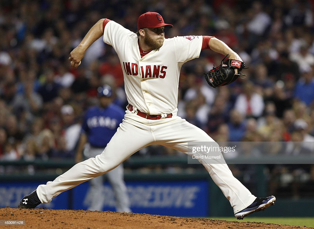 Cody Allen #37 of the Cleveland Indians pitches against the Texas Rangers during the ninth inning of their game on August 2, 2014 at Progressive Field in Cleveland, Ohio. The Indians defeated the Rangers 2-0.